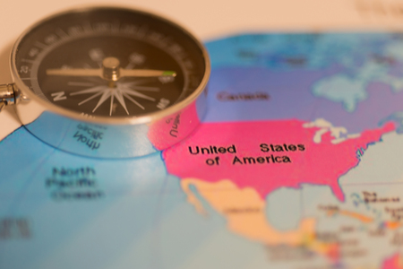 Americas land map with compass