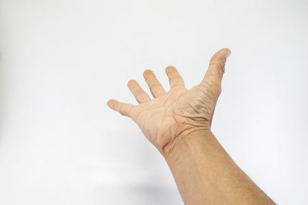 Human hands, old man, rough skin, and wrinkles show the palms on a white background with empty space.