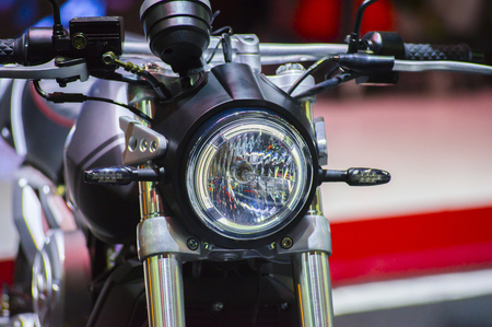 Beautiful motorbike front, headlights and round turn lamps, the perfect design and stylish modern.