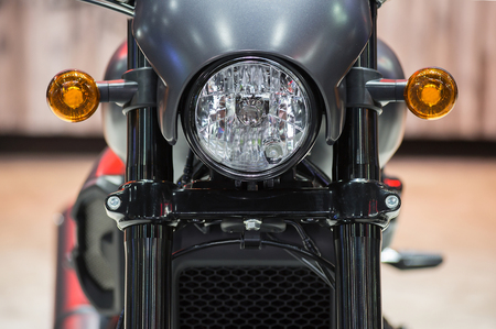 Motorcycle front with beautiful headlights.