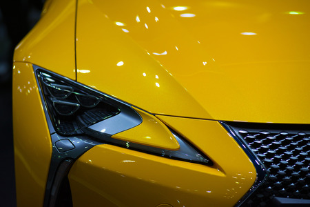 The headlights are beautifully designed, stylish and perfect for use with the beautiful metallic yellow of the car.