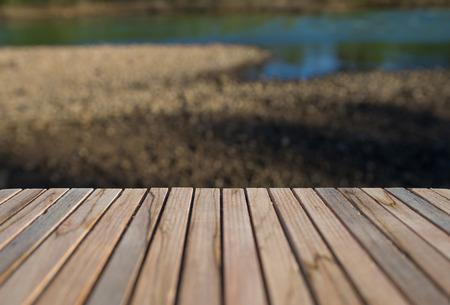 Overview of the natural beauty of the wooden terrace, in the beautiful evening. Stock Photo