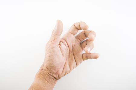 Finger of seniors who have problems trigger fingers on a white background.