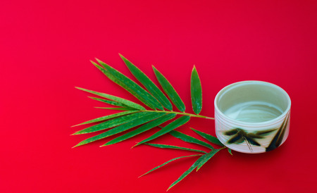 A cup of tea with a twig of bamboo leaves on a bright red background.