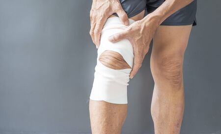 Posture image of a person who is injured in the synovial bone, the knee muscles