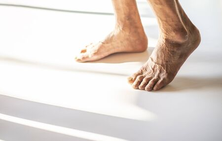 The feet of old people