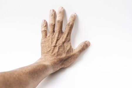 The hand of the person who is pushing the white background