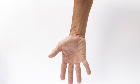 The gesture of the hand that opens your finger on the white background