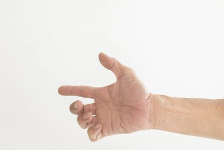 The hands and fingers of the elderly gestures shown on a white background