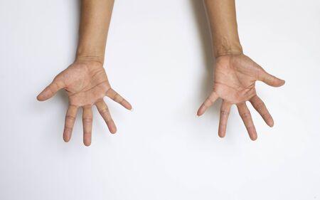 The gesture of the person's hand and finger on a white background