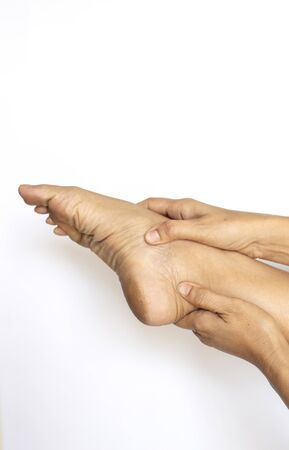 The image of the ankles of the feet showing the symptoms Have problems with muscles, and bones and tendons
