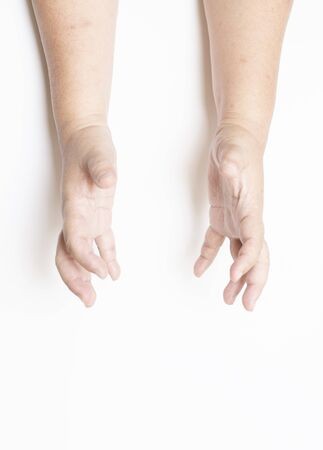 The hand showing the expression on a blank white background