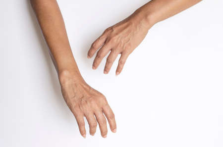 Gestures of the hands and fingers of the person who are showing