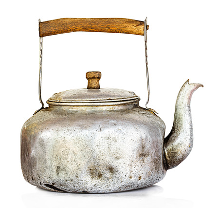 Old kettle isolate on a white background