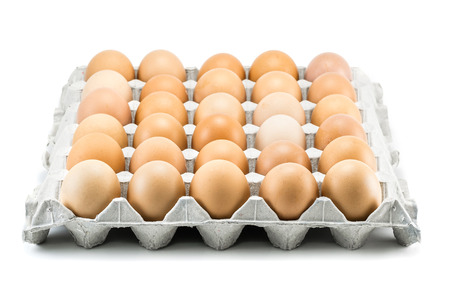 eggs of hen in package isolate on white background
