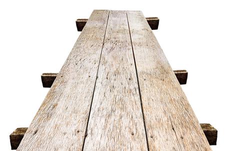 Old wood bridge isolate on a white background Banco de Imagens