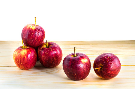 Apple red on table isolate on a white background