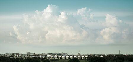 Beautiful Sky and Cloud, Cityscape pastel tone, retro style