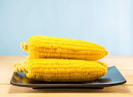 Yellow Corn boil in dish on the table