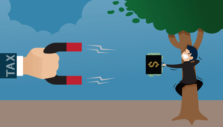 A large hand of tax holding a magnet sucks a purse in the hands of a businessman hugging a tree. vector cartoon financial concept Illustration