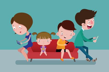 I membri della famiglia intendono giocare ai social online. E non importa di A Little girl per la solitudine. concetto di cartone animato vettoriale