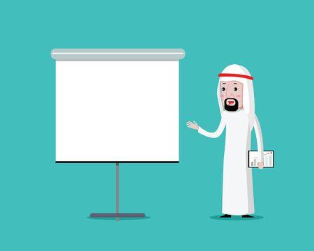 Arabian Businessman on presentation, vector cartoon