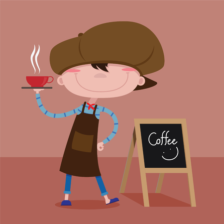 Barista kids to presents coffee on a tray, vector cartoon