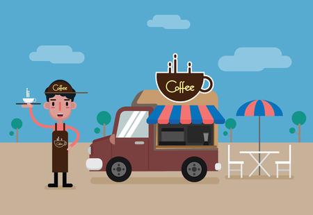 Barista man and coffee food truck. vector cartoon