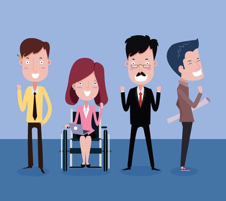 Boss and disabled employees teamwork business concept. Vector cartoon