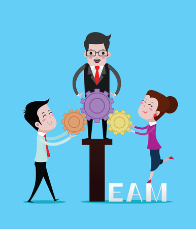 Boss, female and male employees team have cog, business concept. Vector cartoon Ilustração