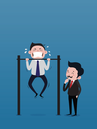 The businessman, the boss, is blowing the whistle to signal to train the male staff doing Chin-up Bar. concept vector