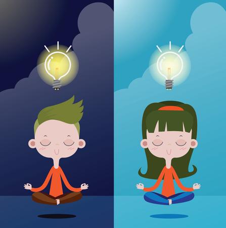 Boys and girls Meditation for Creativity and Ideas, Light Bulb. vector illustration concept Ilustração