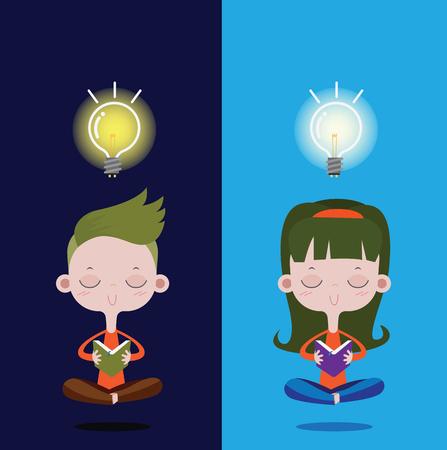 Boy and Girl reading a book, the bright light bulb over the head. vector cartoon concept