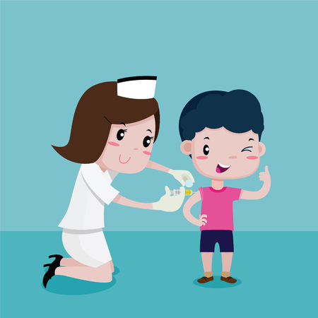 Boy Happy While the nurses was injecting, Vector cartoon