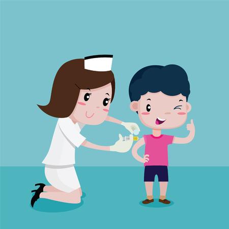 Boy Happy While the nurses was injecting, Vector cartoon