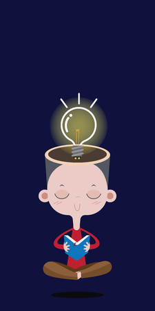 Boy reading a book, the bright light bulb over the head. vector cartoon concept Ilustração