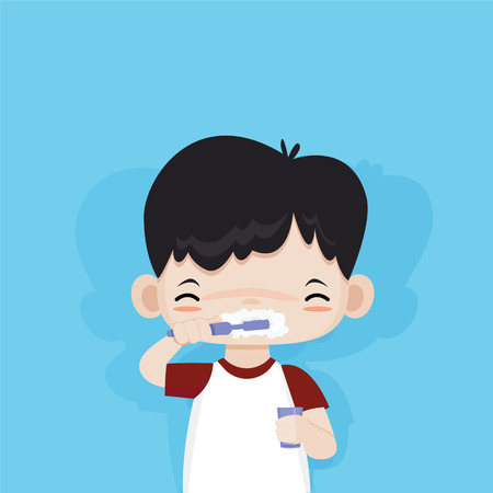 Little cute boy happy to brushing his teeth, vector cartoon Ilustração
