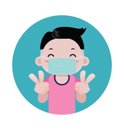 Een jongen die een medisch masker op zijn gezicht draagt, beschermt het virus, ziektekiemen, stof en luchtvervuiling. vector tekenfilm