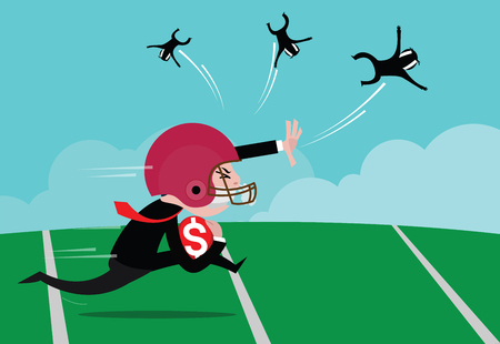 Businessman wearing American football helmets were running the ball, concept of business competition, vector cartoon