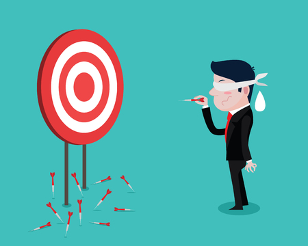 Businessman using a blindfold and hit darts target, Vector Cartoon