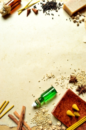 spices and aromatherapy supplies Stock Photo