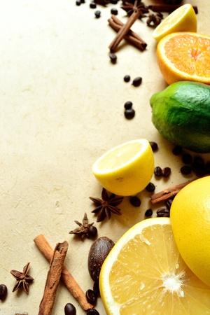 柑橘系の果物、コーヒー豆