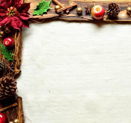 赤いポインセチアおよびフルーツ。クリスマス フレーム