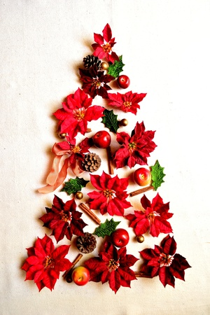 red poinsettia christmas tree stock photo 10416482