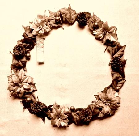 sepia poinsettia Christmas wreath photo