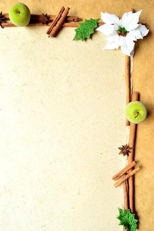 흰색 포 인 세 티아와 녹색 사과. 프레임