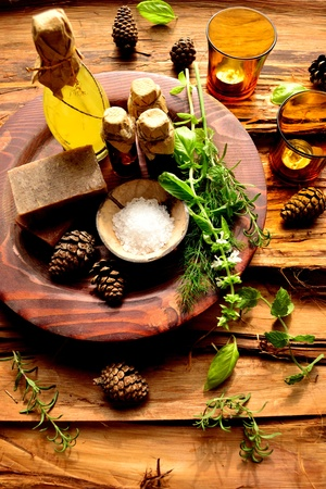 Herbs and aromatherapy Stock Photo
