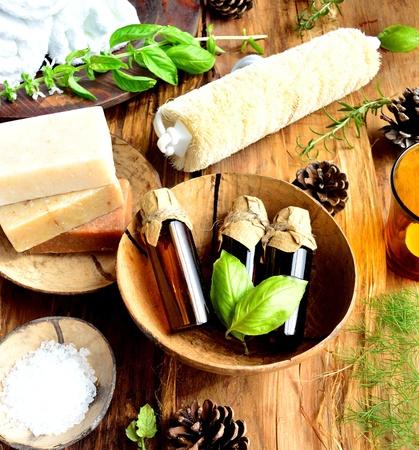 herb and aroma bath supplies 写真素材