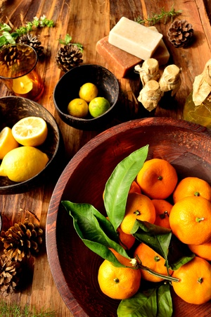 citrus fruits and aromatherapy Stock Photo