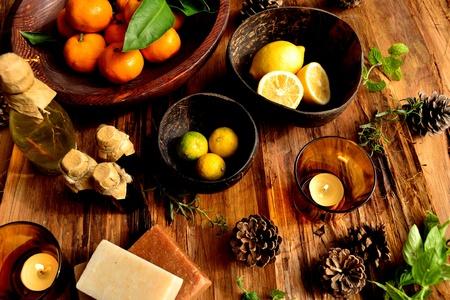 citrus fruits and aromatherapy Banco de Imagens